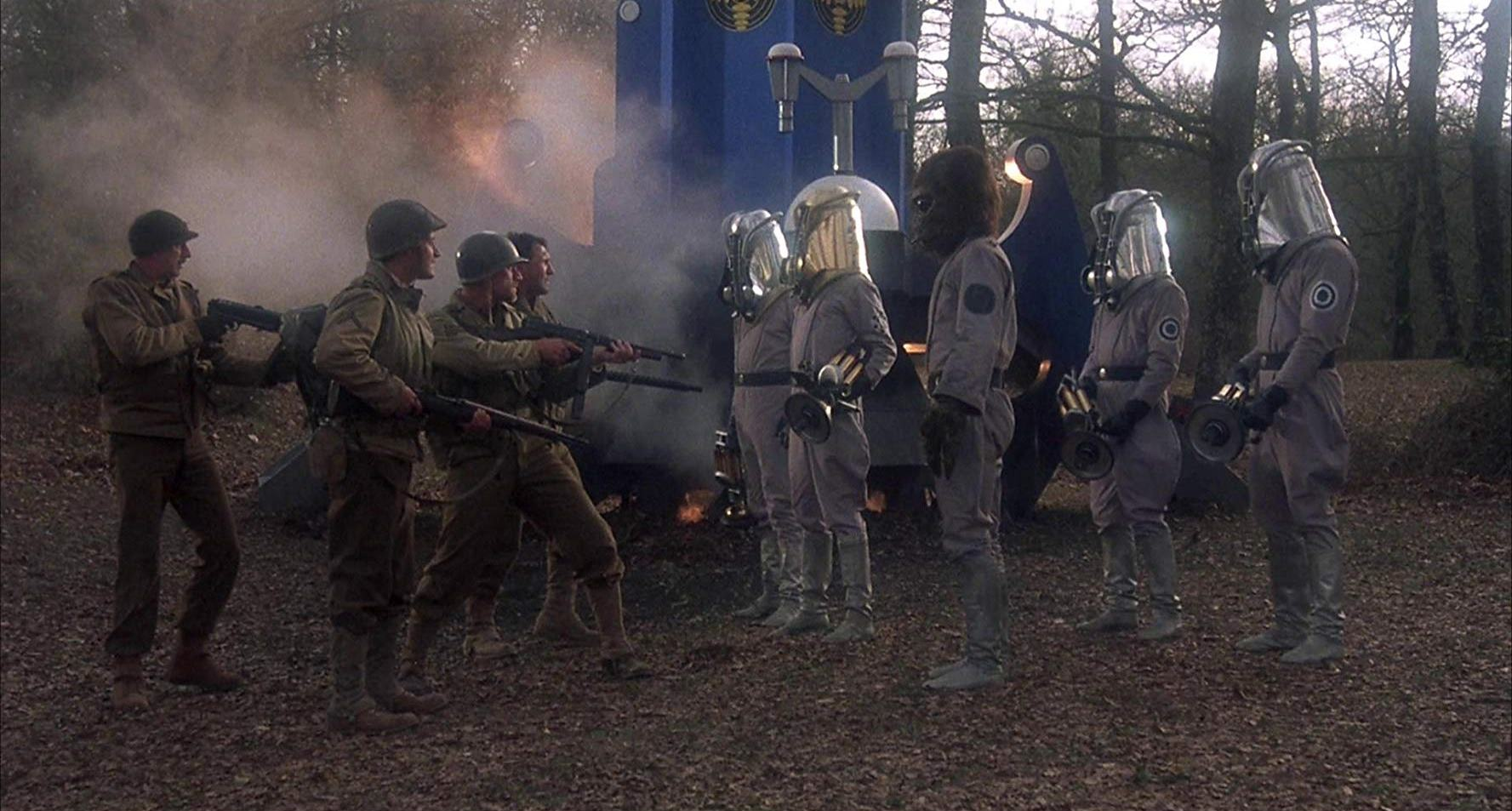 GIs meet Nazis and a captured alien at the crash site of a UFO in Zone Troopers (1986)