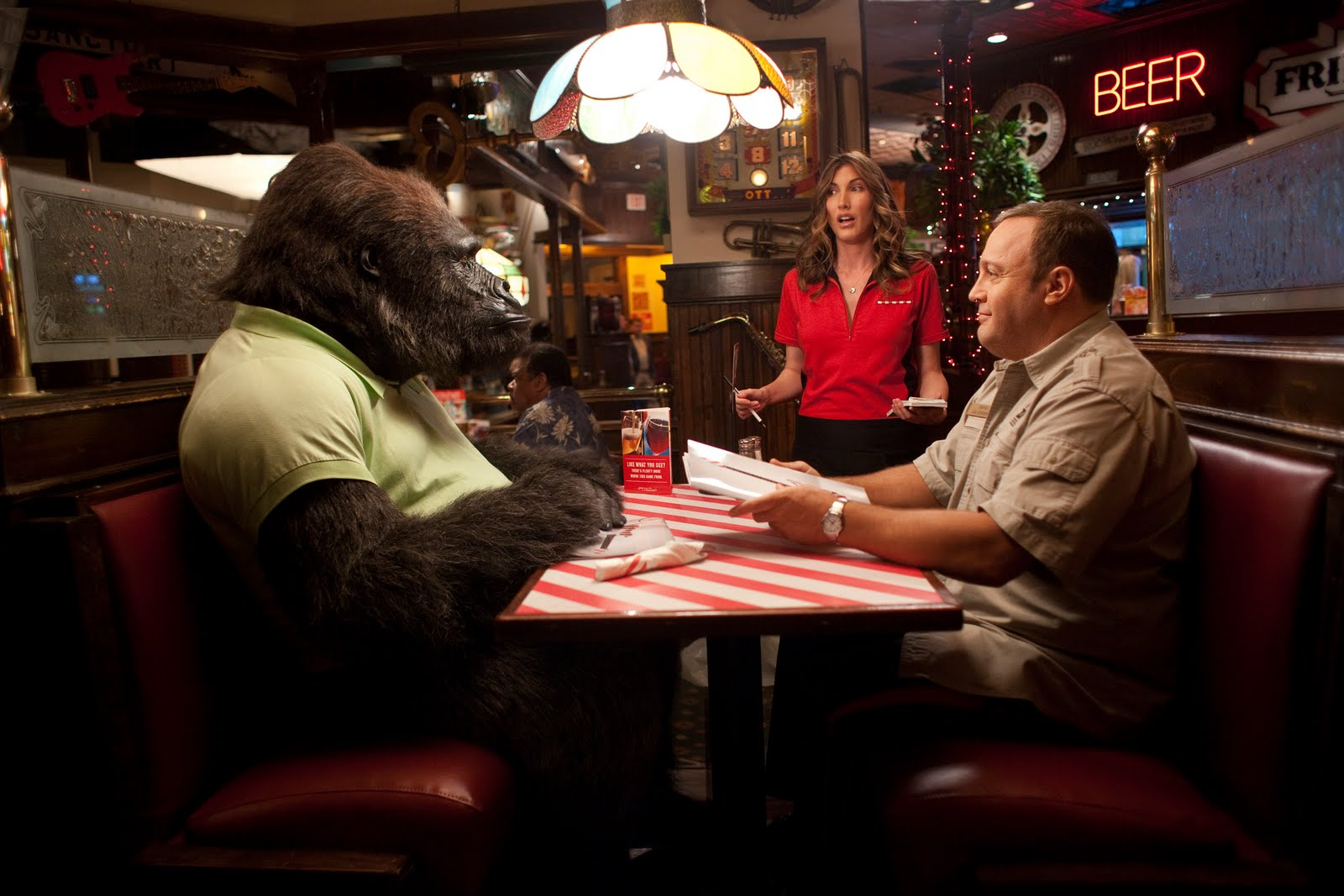 Kevin James goes out to TGI Friday's with Bernie the Gorilla in Zookeeper (2011)