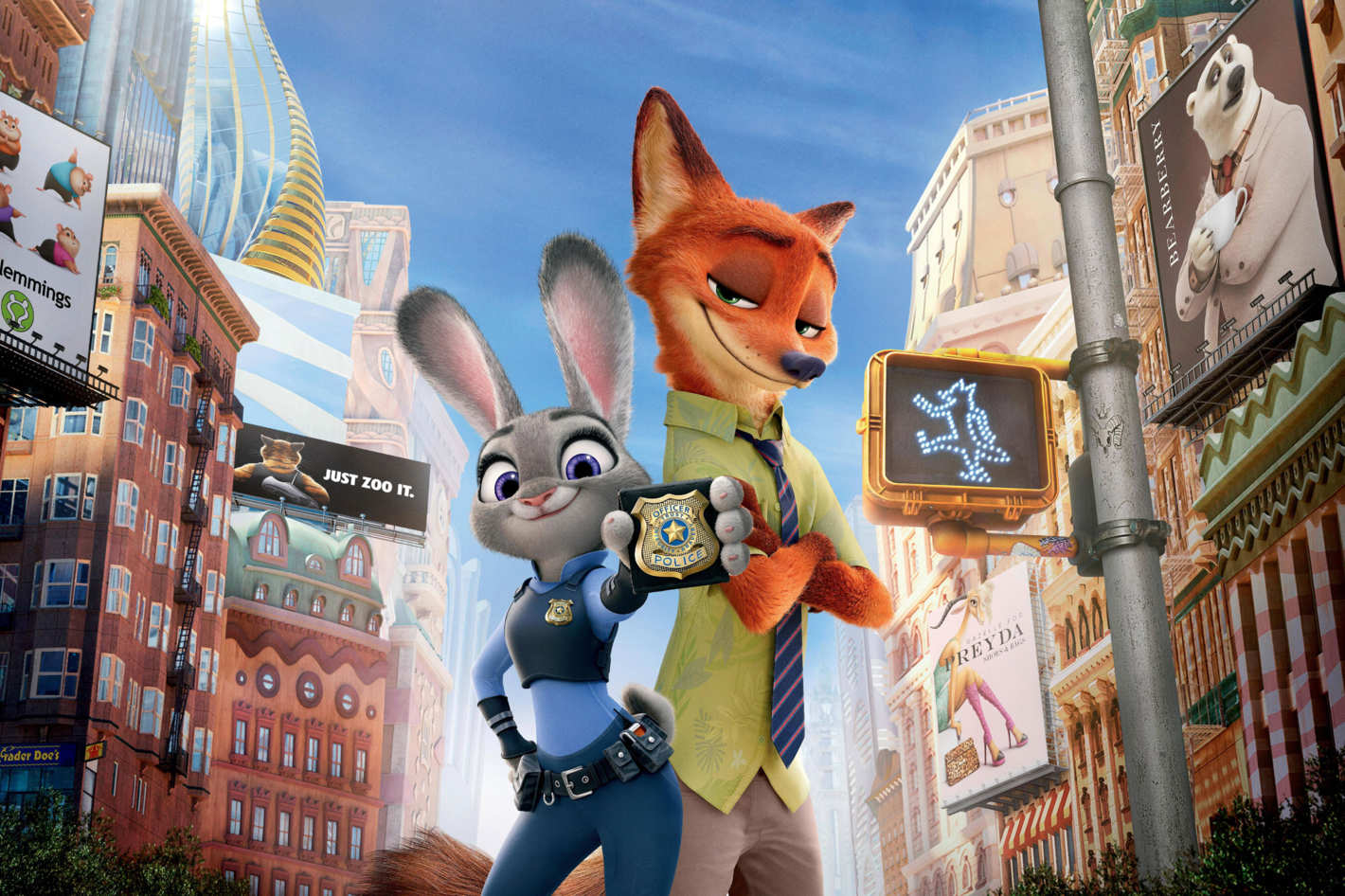 Officer Judy Hopps (voiced by Ginnifer Goodwin) and fox confidence trickster Nick Wilde (voiced by Jason Bateman) in Zootopia (2016)